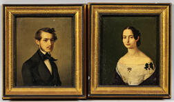 European School, 19th Century      Pendant Portraits of a Gentleman and Lady