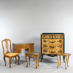 Italian Rococo-style Polychrome Painted Five-piece Bedroom Group