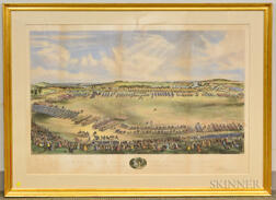 Framed Endicott & Co. Hand-colored Lithograph Review of the Mass. Volunteer Militia