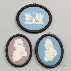 Three Wedgwood Bert Bentley Tricolor Jasper Medallions
