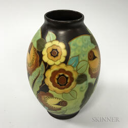 Art Deco Keramis Floral-decorated Ceramic Vase