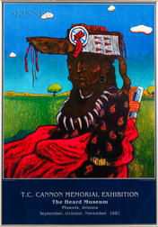 After T.C. Cannon (Native American, 1946-1978)    Exhibition Poster: T.C. Cannon Memorial Exhibition