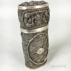 Chinese Export Silver Lidded Cannister
