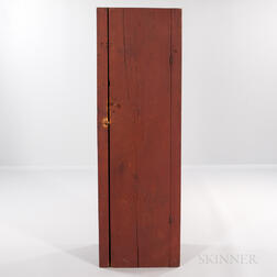 Tall Red-painted Single-door Cabinet