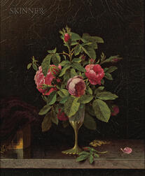 Martin Johnson Heade (American, 1819-1904)      Pink Roses in a Fragile Vase