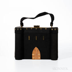 Anne-Marie Black Suede Castle Handbag