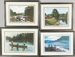Ogden Minton Pleissner (Vermont/New York, 1905-1983)    Four Chromolithographs Including Hendrickson's Pool - Beaverkill