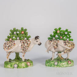 Pair of Staffordshire Bocage Cows