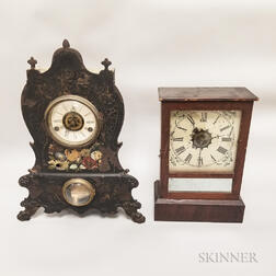 Cast Iron Front and Flat-top Cottage Shelf Clocks