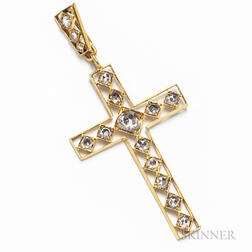 Antique 18kt Gold and Rose-cut Diamond Cross Pendant