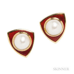 18kt Gold, Mabe Pearl, and Enamel Earclips, De Vroomen