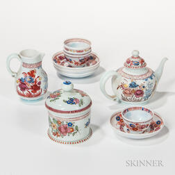 Polychrome Enamel-decorated Milk Glass Tea Set