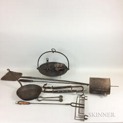Group of Wrought Iron Hearth and Domestic Items