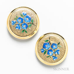 "14kt Gold and Enamel ""Forget Me Not"" Cuff Buttons"