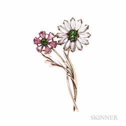 Retro 14kt Bicolor Gold Gem-set Flower Brooch
