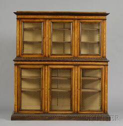 Italian Renaissance-style Fruitwood-inlaid and Penwork Decorated Walnut Library   Cabinet