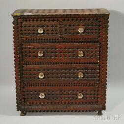 Tramp Art Notch-carved Wood Five-drawer Chest