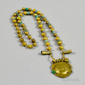 Chimu Gold and Chrysocolla Necklace