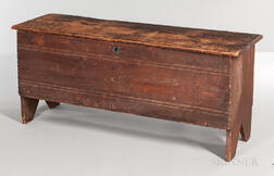 Chip-carved and Crease-molded Pine Six-board Chest