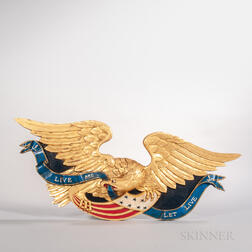 Carved, Gilded, and Painted Spreadwing Eagle Plaque