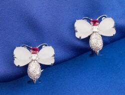 Diamond, Ruby, and Rock Crystal Butterfly Earclips