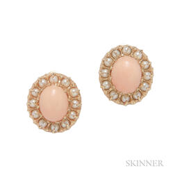 14kt Gold, Coral, and Pearl Earclips