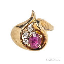 14kt Gold, Ruby, and Diamond Ring