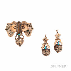 Victorian Gold, Enamel, and Turquoise Earrings and Brooch