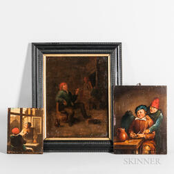 Manner of Adriaen Brouwer (Flemish, 1605-1638) Three Tavern Scenes with Men Smoking: By a Window, At a Table, and Seated in a Barrel Ch