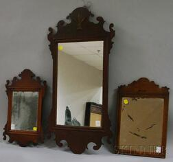 Two Chippendale Mahogany Mirrors and a Small Queen Anne Mahogany Mirror