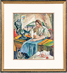Attributed to Iver Rose (American, 1899-1972)       Woman with a Sewing Machine.