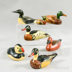 Seven Contemporary Carved and Painted Decoys