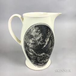 Liverpool Black Transfer-decorated Creamware Jug of Diana