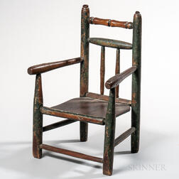Early Green-painted Turned Child's Plank-seat Armchair