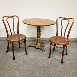 Victorian Cast Iron and Maple Table and a Pair of Thonet-style Bentwood Chairs