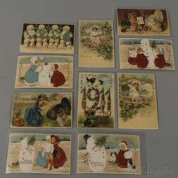 Ten Early 20th Century Die-cut Hold-to-Light Christmas and New Year's Postcards