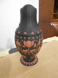 Modern Wedgwood Solid Black Jasper Canopic Jar and Cover