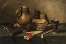 Jan Hendrik Eversen (Dutch, 1906-1995)      Still Life with Books, Jug, Clay Pipe, and Pewter Cup