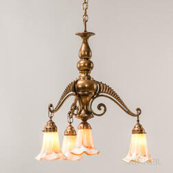 Art Nouveau Brass Chandelier with Steuben Pulled Feather Shades