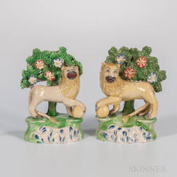 Pair of Staffordshire Bocage Lions