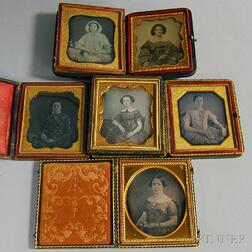 Five Sixth-plate Daguerreotypes and an Ambrotype Depicting Young Women