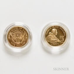 1997 Frank Delano Roosevelt Gold Commemorative Two-coin Set.