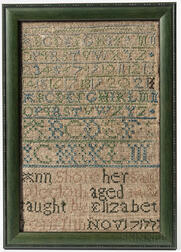 "Needlework Sampler ""Ann Shore,"""