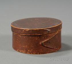 Small Round Red-painted Lapped-seam Covered Box