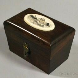 Rosewood Box Topped with Scrimshaw-decorated Whaling Scene Medallion