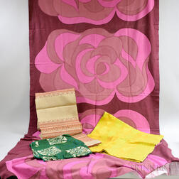Marimekko Tablecloth and Two Other Mid-century Textiles.