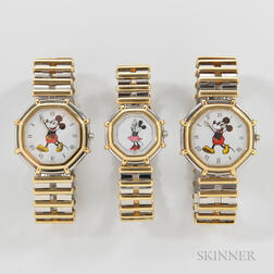 "Three Gerald Genta Walt Disney ""Les Fantaisies"" Watches"