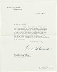 Roosevelt, Franklin Delano (1882-1945) Typed Letter Signed, Washington, DC, 16 February 1937.