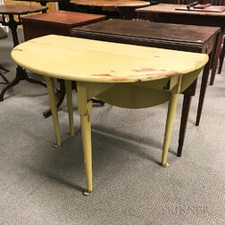 Queen Anne Yellow-painted Maple Drop-leaf Table