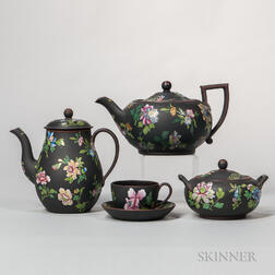 Four Wedgwood Enameled Black Basalt Tea Wares